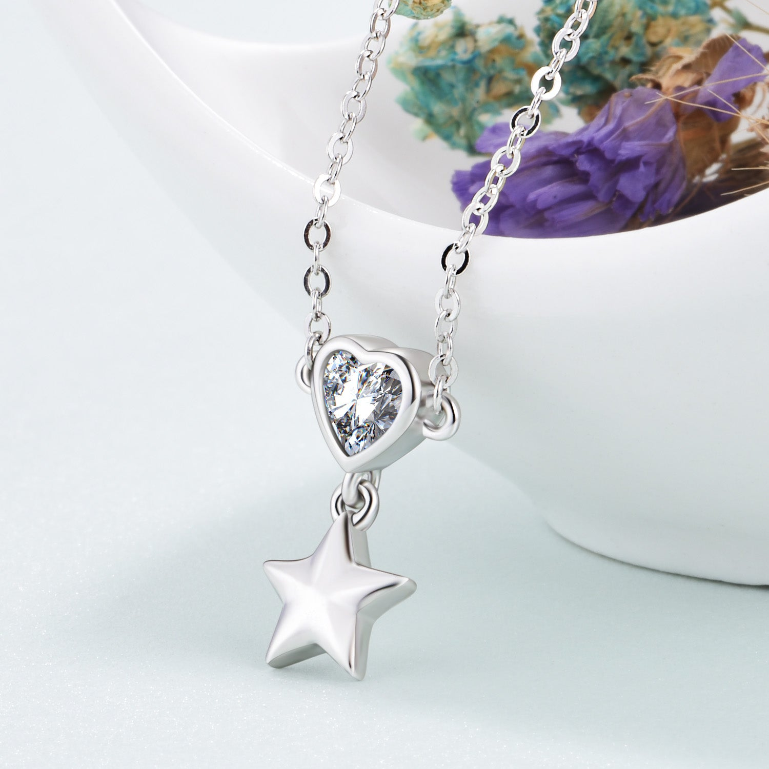 Beautiful Fairy Necklace Bright Heart and Stars Perfect Necklace