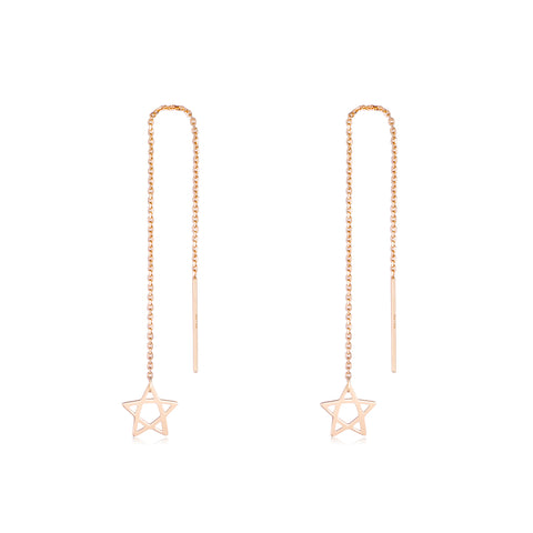 18K Gold Korean Long Chain Star Dangle Drop Earrings Fashion Classic Hot Sale Ladies Jewelry