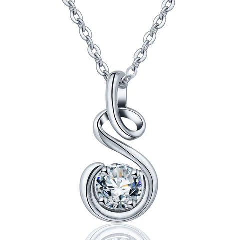 Clear AAA CZ Heart Pendant Necklace