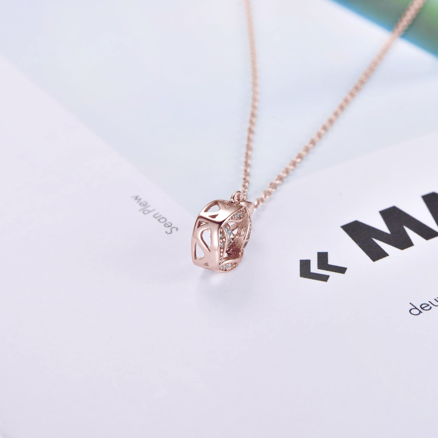 Zirconia Flower Necklace Fashion Jewelry Rose Gold Plated Cubic 925 Sterling Silver Pendant Necklace