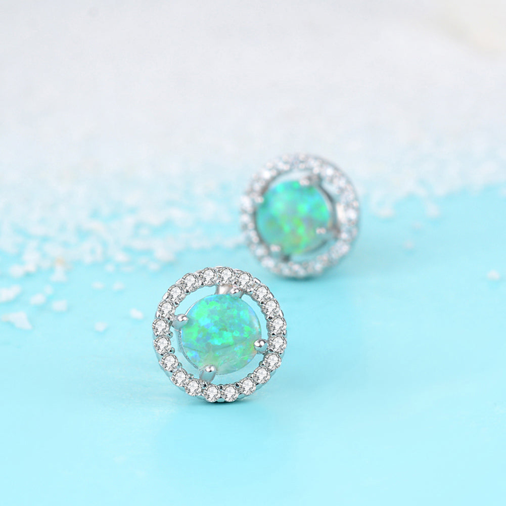 Cheap Wholesale 925 Sterling Silver Cubic Zirconia Opal Stud Earrings for Women
