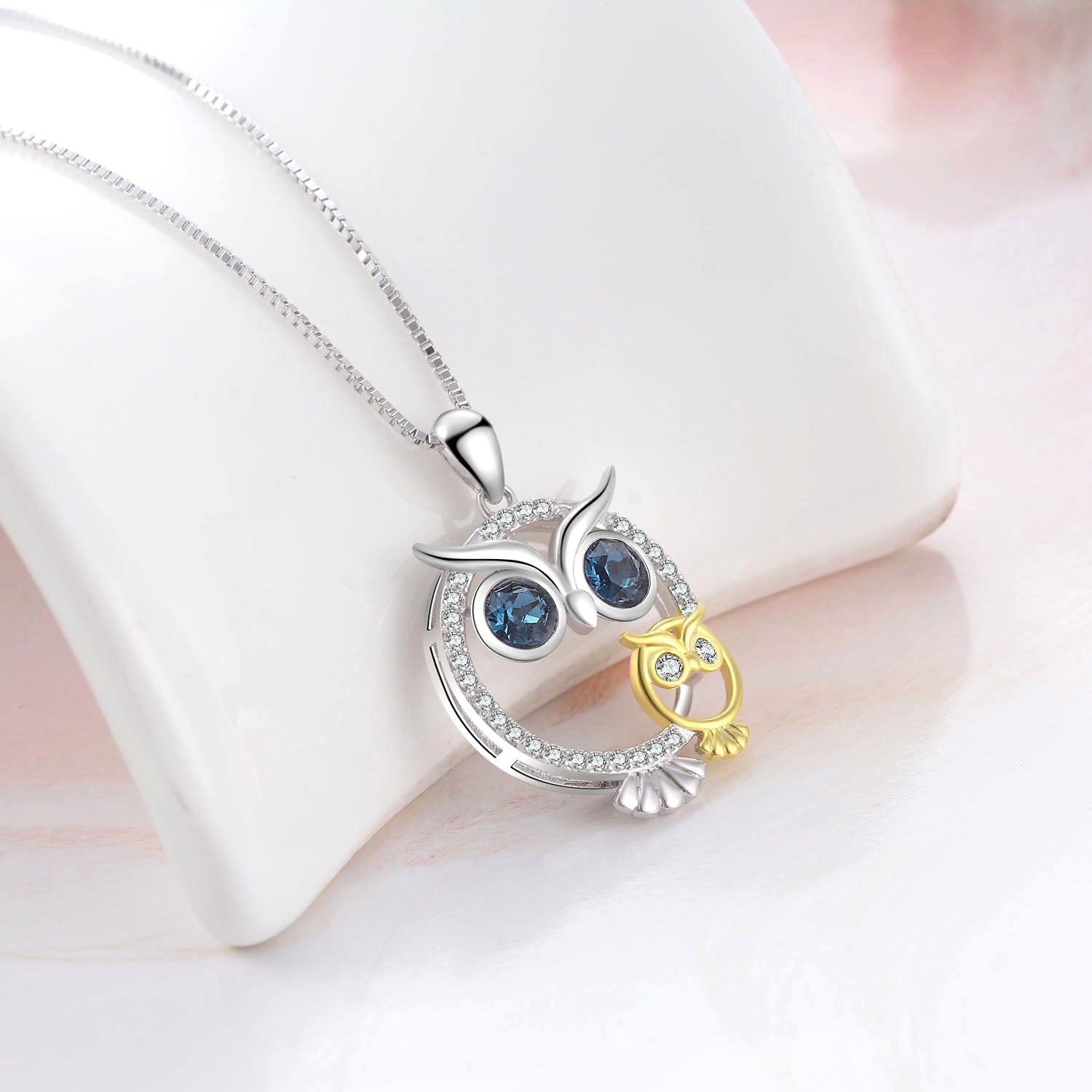 Owl Blue Zirconia Necklace Owl Animal Pet Human Lovely Necklace Wholesale