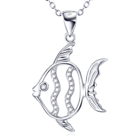 Cute Animal Fish Shaped Necklace Fashion 925 Sterling Silver Girls Jewelry For Gifts