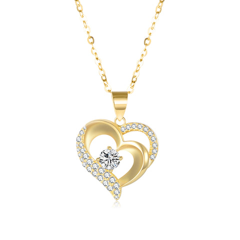 18K Gold European And American Fashion Explosion Double Heart Shaped Zircon Pendant Necklace