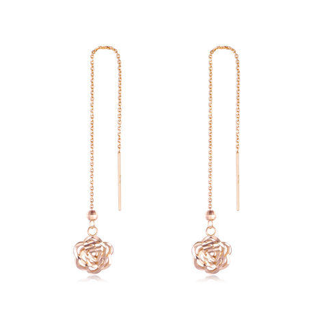 18K Gold Cross-Border Hot Sale Long Chain Rose Dangle Drop Earrings Women's Boutique