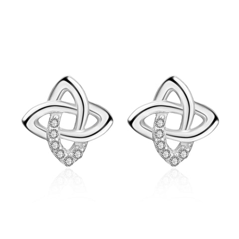 2019 High Quality White Clear Round Zirconia Celtic Knot Stud Earrings