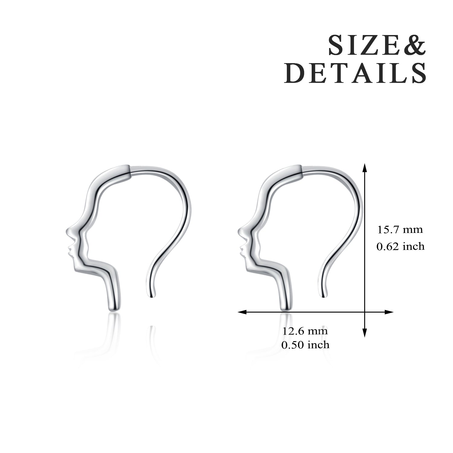 Human Face Shape Earrings Rhodium Plating Head Profile Silver Earrings