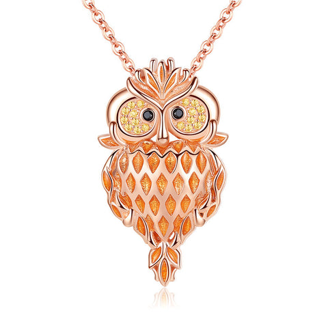 Rose Gold plated Owl zircon Pendant Necklace S925 Sterling Silver  without  Chain