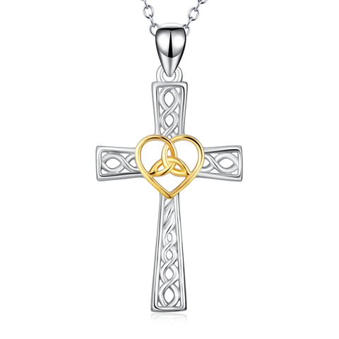 Custom engraved cross necklace with fashion silver yellow knot