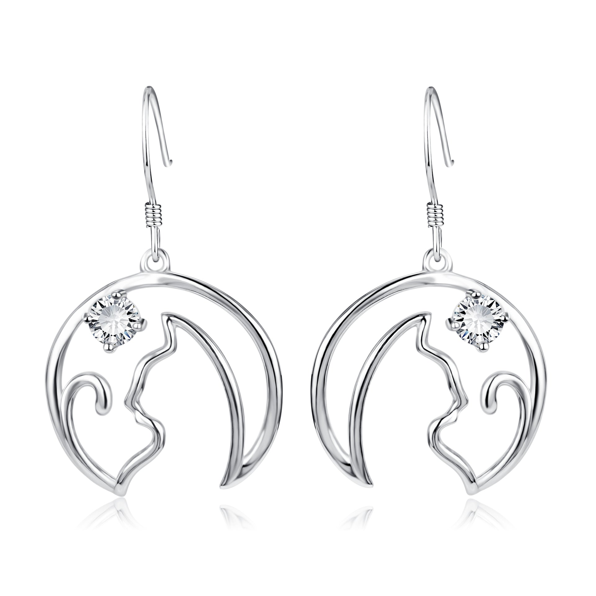 Cat silhouette Earrings drop wholesale 925 sterling silver earrings