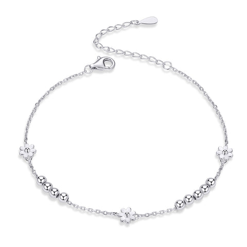silver white gold plated daisy bracelet