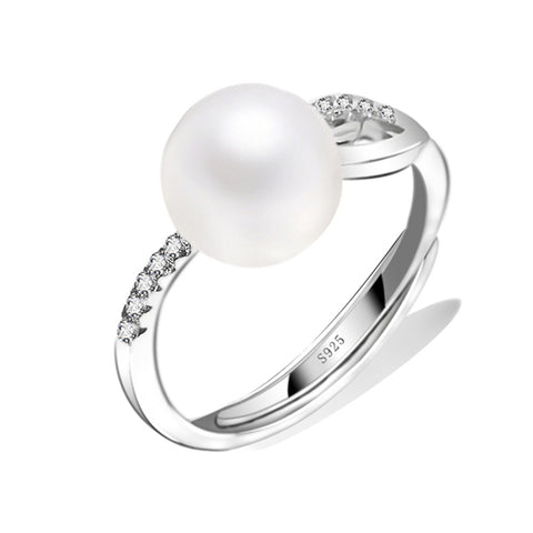 Fashion Handmade Geometric Pearl Ring Silver Jewelry Gift Girl