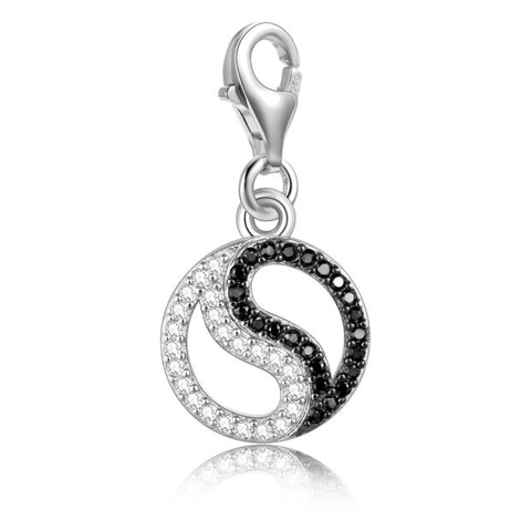 925 Sterling Silver Cubic Zirconia Tai Chi Pendant Black And White Jewelry Accessories