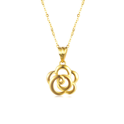 18K Gold European And American Fashion Flower Hollow Necklace Ladies Boutique Jewelry
