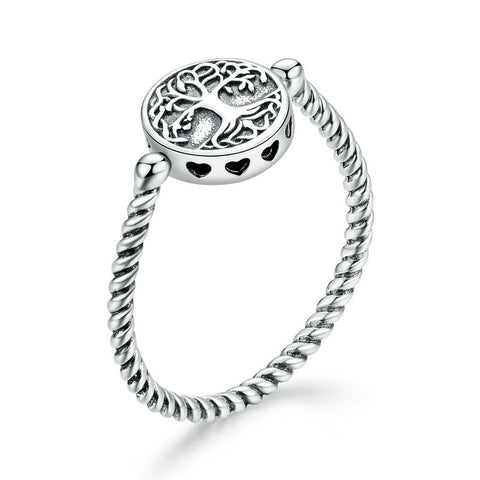 925 Sterling Silver Tree of Life Pendant Rings for Women Plated platinum Engagement Ring Jewelry