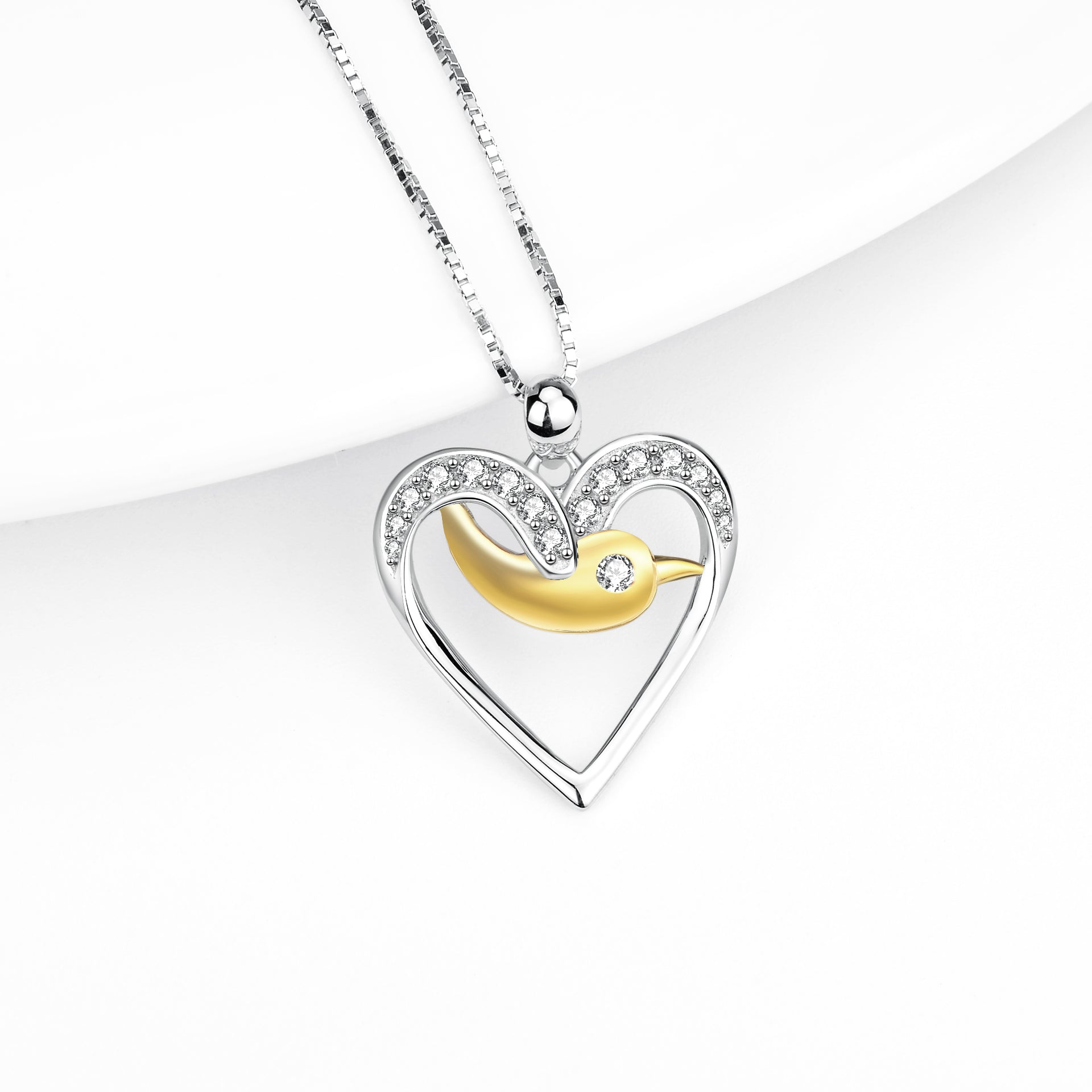 Birds Necklace Fashion 925 Sterling Silver Heart Bird Zircon Pendant Necklace