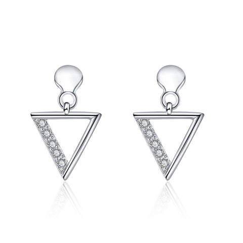 Geometric Hollow Earrings Triangle Math Shape Zirconia Silver Earrings