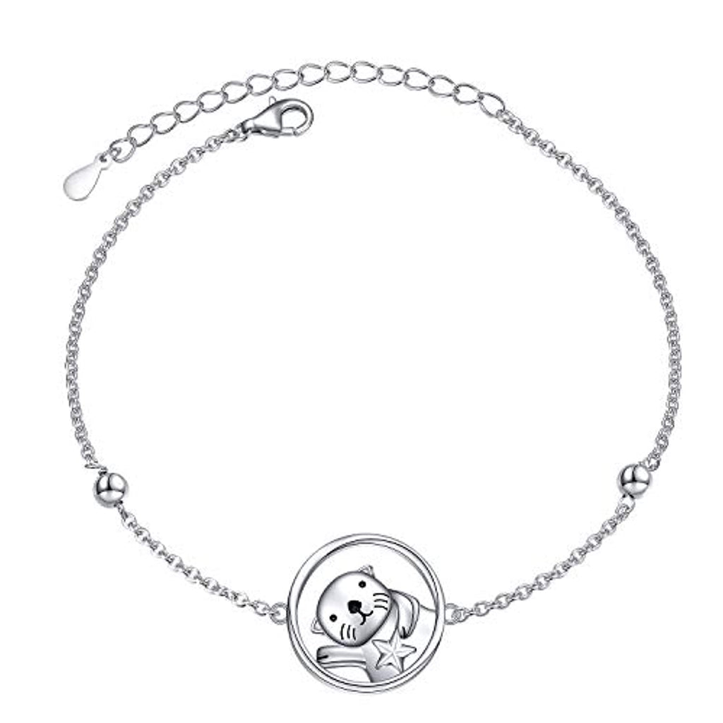 Silver Cute Animal Sea Otter Bracelet