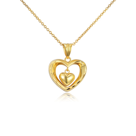 18K Gold Fashion Exquisite Double Love Hollow Necklace