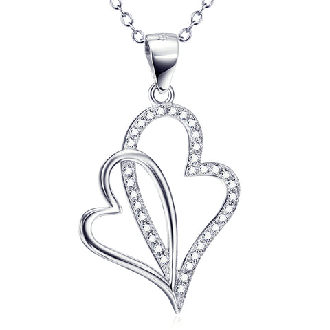 Heart Shaped Pendant Necklace Customed 925 Sterling Silver Woman Cz Stone Jewelry For Gifts Anniversary