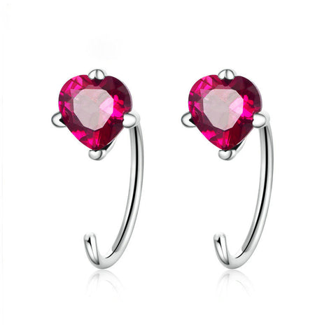 Heartbeat Shape Pink Red CZ Stud Earrings