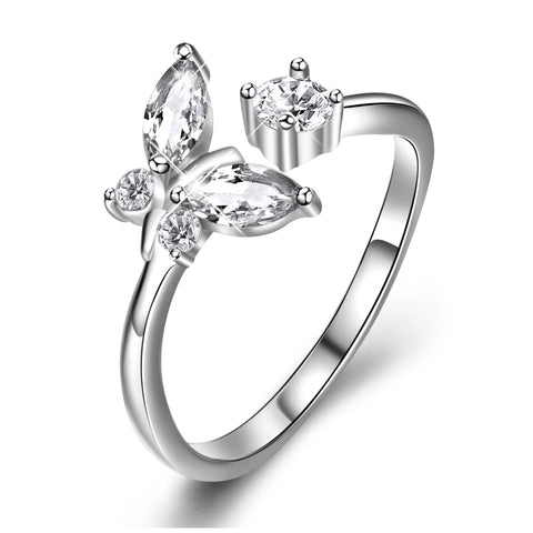 Butterfly Opening Adjustable Ring Rhodium Plating Jewelry Ring