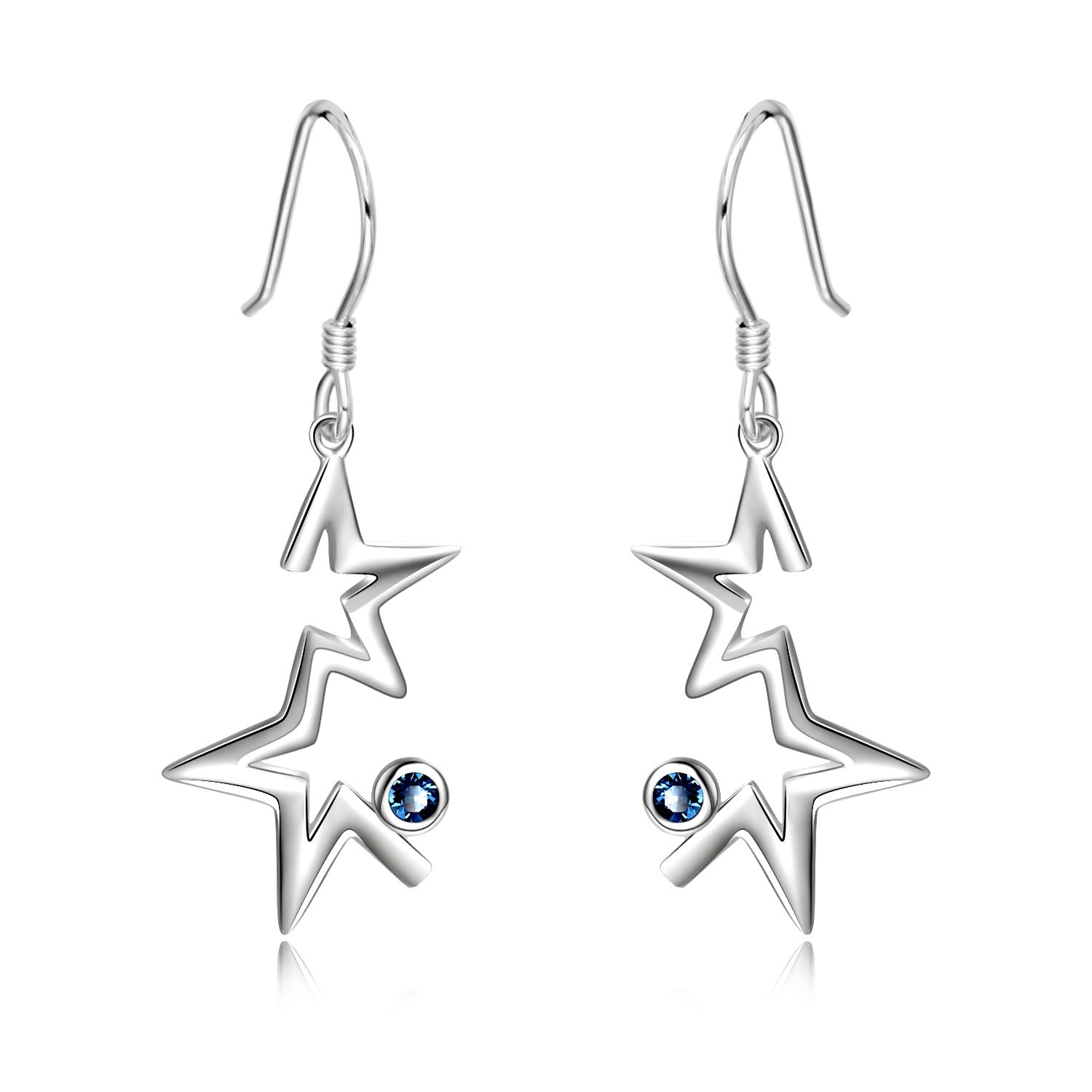 Star Stud Earrings Silver Color With Cute Small Zirconia Designs Earrings
