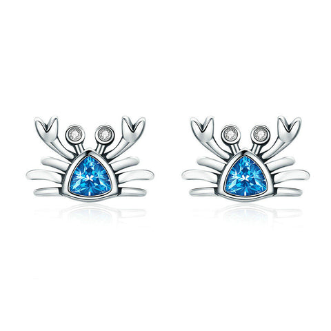 Cute Ocean Crab Small Blue CZ Stud Earrings