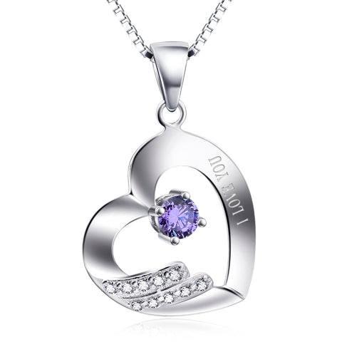 Laser Love You Heart Necklace Purple Zirconia Jewelry Necklace