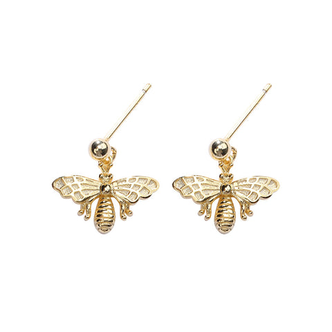 925 Sterling Silver Cute Insect Animal Earrings Korean Version Of The Geometric Bee