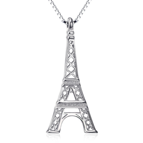 Eiffel Tower Necklace 925 Sterling Silver Eiffel Tower Charm Necklace
