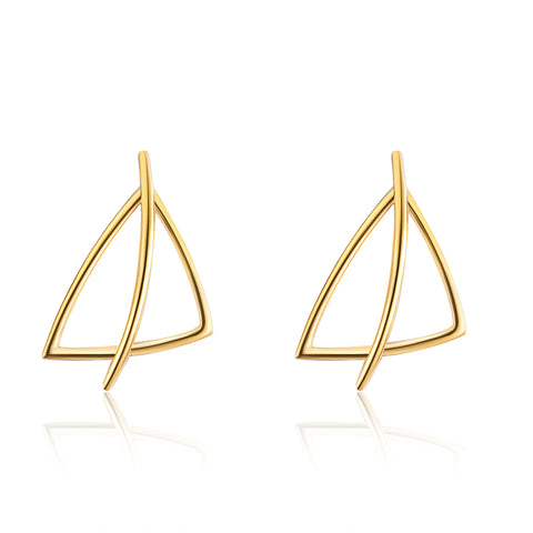 Silver Wire Weave Earrings Geometric Gold Plating Triangle Shape Earrings