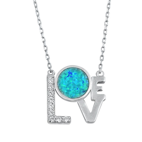 Blue Lab Opal and Clear Cubic Zirconia Love Pendant Necklace