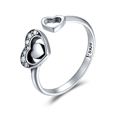 S925 Sterling Silver Heart Printed Ring Oxidized Zircon Ring