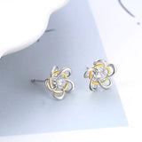 Gold And Silver Flower Earrings Stud Earrings Design High Quality Jewelry