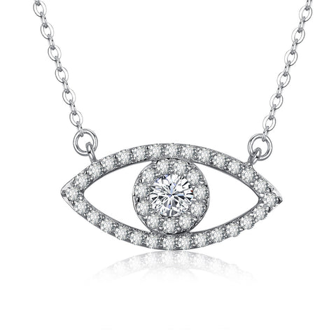 Big eyes zircon pendant necklace European and American fashion jewelry ladies