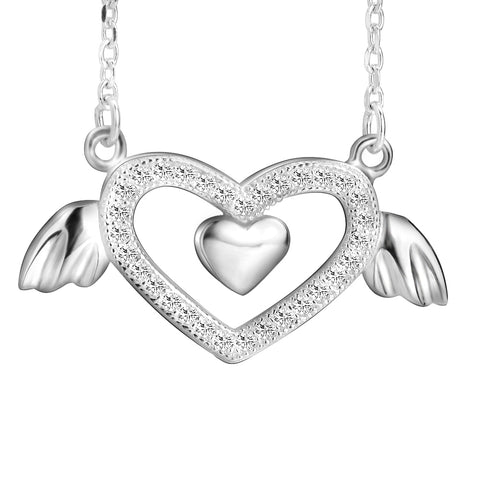 Angle Heart Pendant Necklace With Cubic Zirconia Silver Fashion Jewelry