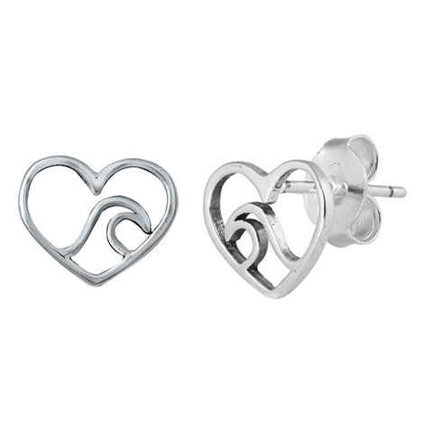 Silver Heart & Wave Stud Earrings