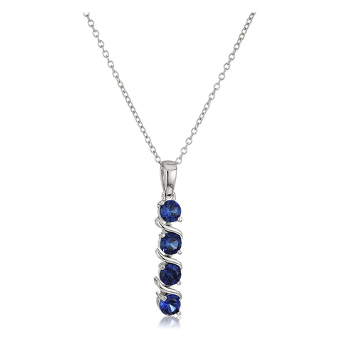 Multicolor Swirl Linear Prong Set 925 Sterling Silver Cubic Zirconia Necklace