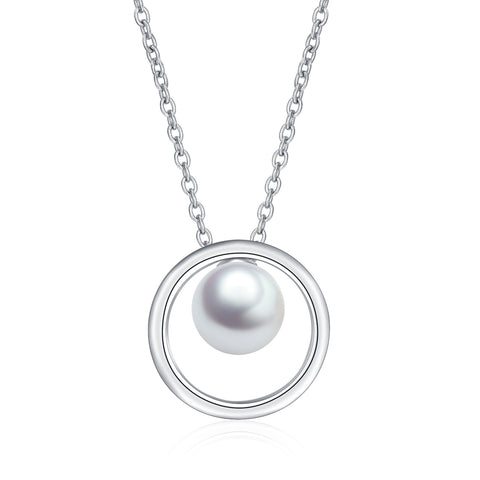 Geometric Pearl Jewelry Round Circle Rhodium Playing Necklace Wholesale