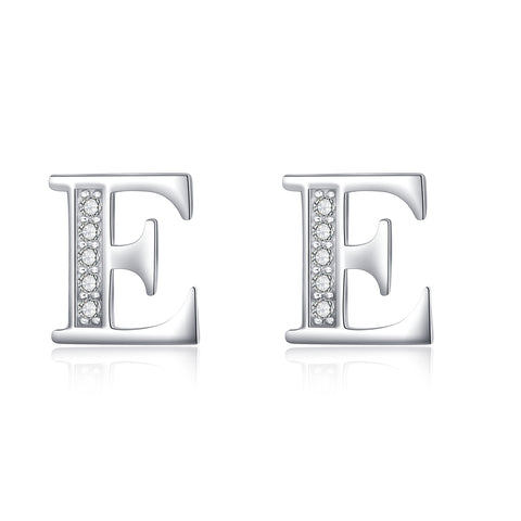 Wholesale Fashion Ladies Jewelry 925 Sterling Silver Alphabet Stud Earrings