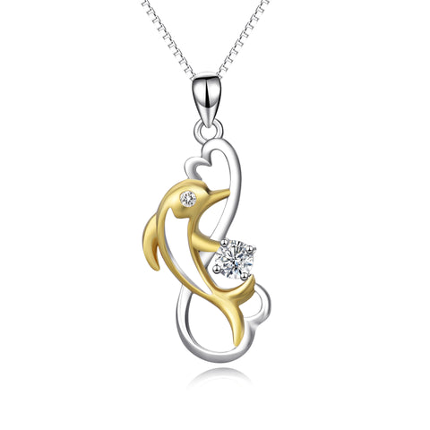 wedding gift dolphin necklace chain pendant  925 sterling silver simple necklace