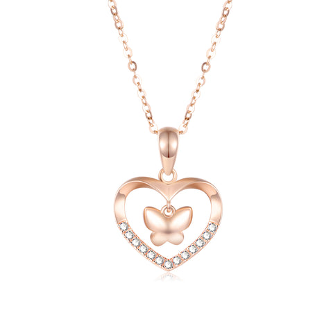 18K Gold Fashion Korean Version Of The Clavicle Personality Heart Shaped Butterfly Necklace