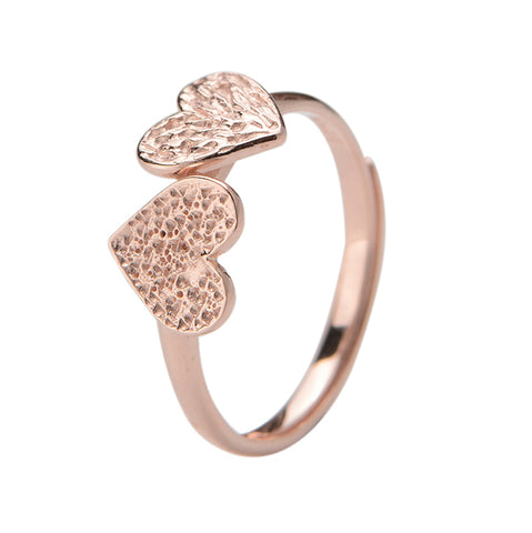 Rose Gold Heart Rings Design Double Heart Silver Rings 2019