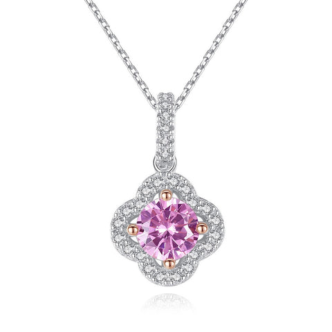 Pink cubic Zircon four-leaf Clover Pendant Sterling Silver Necklace Wholesale