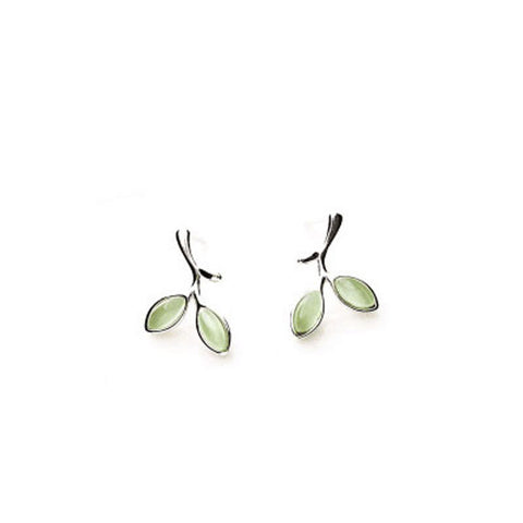 Small Fresh Green Leaves Earrings Femininity Leaves 925 Sterling Silver Earrings