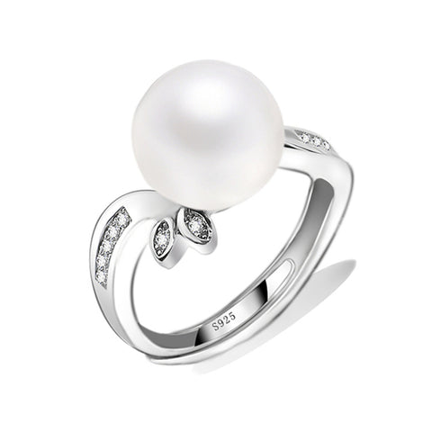 White round freshwater pearl rings jewelry for Mother's day gift