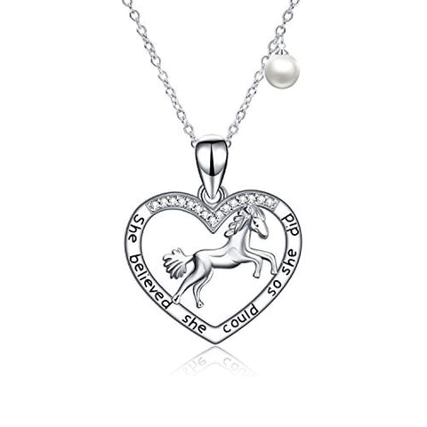 Silver Horse Pearl Necklace