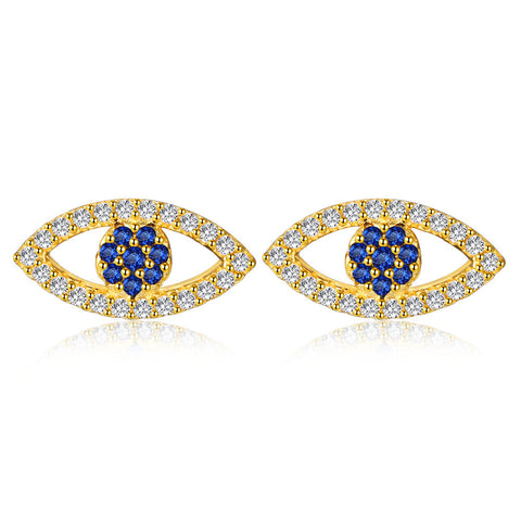devil's eye plated gold zirocn stud earrings S925 sterling silver