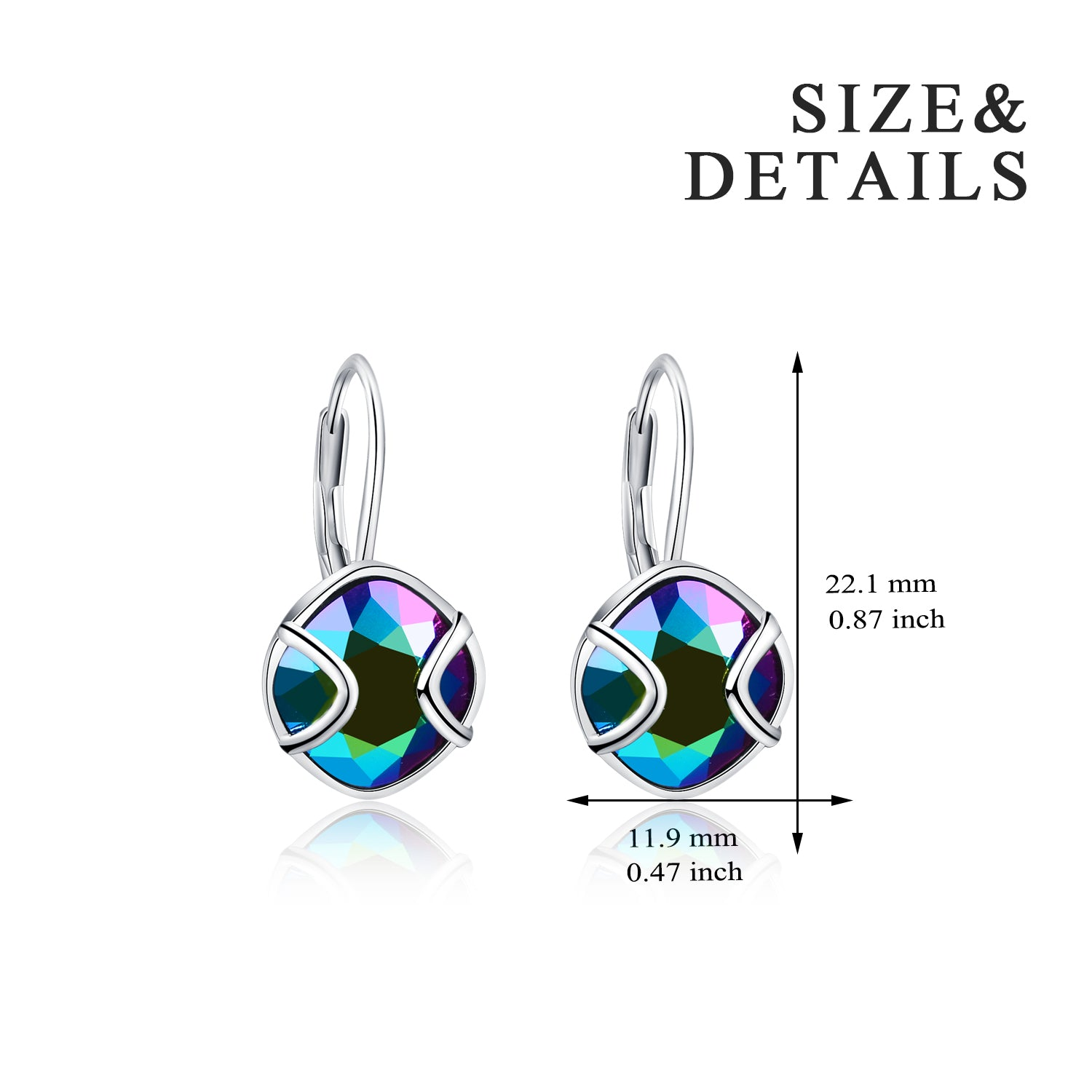 Round Gemstone Design Rare Crystal Pendant Earrings for Women